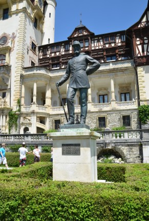 Statue of King Carol I at Peleș Castle in Sinaia, Romania