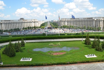 View from the central balcony at Palace of Parliament in Bucharest, Romania