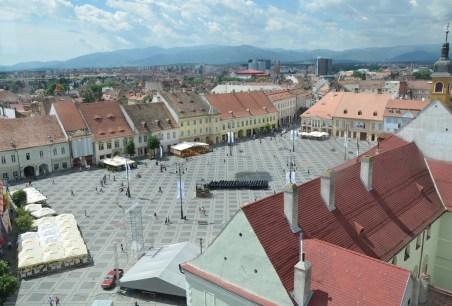 View of Piața Mare from Turnul Sfatului in Sibiu, Romania