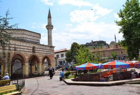 Nasrullah Camii (left) on Nasrullah Meydanı in Kastamonu, Turkey