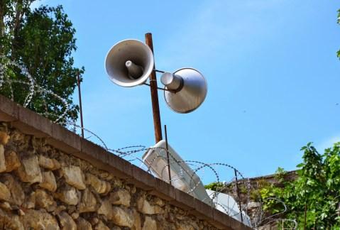 Loudspeakers at Sinop Cezaevi in Sinop, Turkey