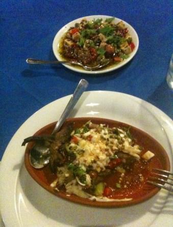 Stuffed eggplant at Sandal in Bozcaada, Turkey