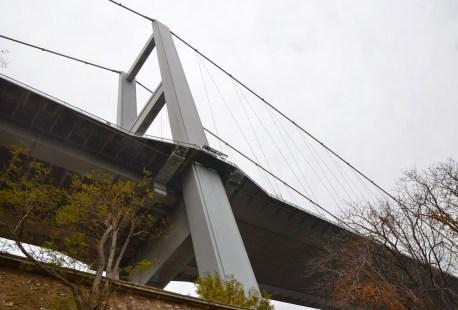 Under the Boğaziçi Köprüsü at Beylerbeyi Sarayı in Beylerbeyi, Istanbul, Turkey