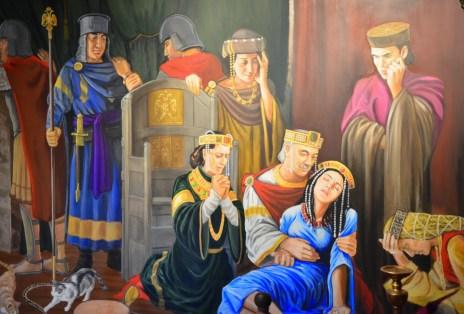 Mural of the princess legend at Kız Kulesi in Üsküdar, Istanbul, Turkey