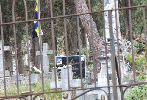 Grave of Lefter Küçükandonyadis at the Greek cemetery on Büyükada, Istanbul, Turkey