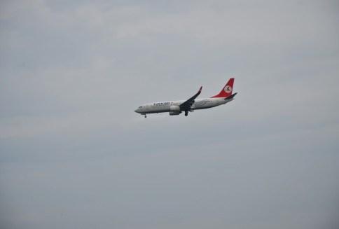 Plane landing at Atatürk Airport in Florya, Istanbul, Turkey