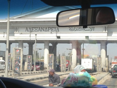 Toll booth entrance to Alexandria, Egypt