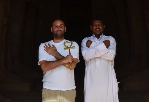 Me with the cool Nubian guard at the Temple of Ramses II at Abu Simbel, Egypt