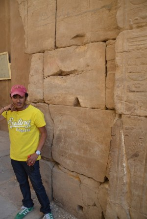 The black line above Sem Sem marks the water level in 1887 at Karnak Temple in Luxor, Egypt