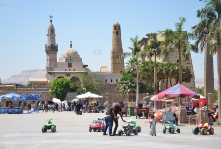Park with Abu al-Haggag Mosque in Luxor, Egypt