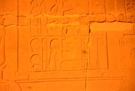 Hieroglyphics showing medical tools at the Temple of Kom Ombo, Egypt