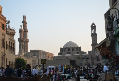 Al-Azhar Mosque (left) and Abu Dahab Mosque (right) in Cairo, Egypt