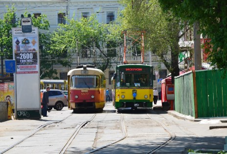 Trams leaving from Kontraktova Square in Kiev, Ukraine