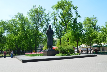 Grigory Skovoroda monument on Kontraktova Square in Podil, Kiev, Ukraine