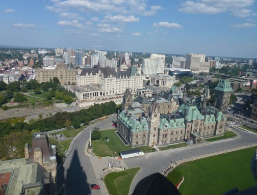East Block and Château Laurier from the Peace Tower in Ottawa, Ontario, Canada