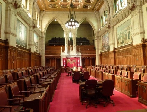 Senate chamber at Parliament Centre Block in Ottawa, Ontario Canada