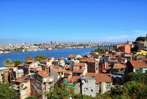 View of Fener and the Golden Horn from Ioakimion School for Girls in Fener, Istanbul, Turkey