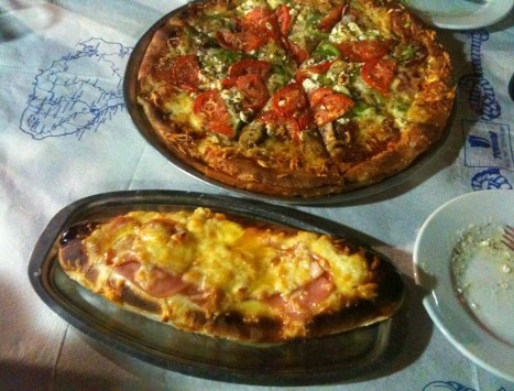 Pizza (top) and peynirli (bottom) at Likos in Komi, Chios, Greece