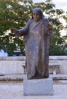 Creepy statue of Mother Teresa in Tiranë, Albania