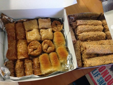 Greek pastries and masourakia (right) from Perfect in Armolia, Chios, Greece