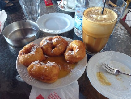 Loukoumades and Frappe at Ahni & Kanella in Chora, Chios, Greece