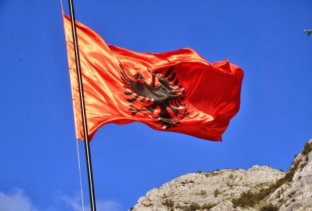 Small country, cool flag in Krujë, Albania