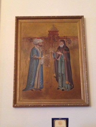 A painting showing the cooperation of Mehmet II and Patriarch Gennadios in 1453 at Great School of the Nation in Fener, Istanbul, Turkey
