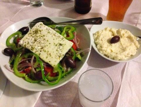 Greek salad and skordalia at Bahari in Karfas, Chios, Greece