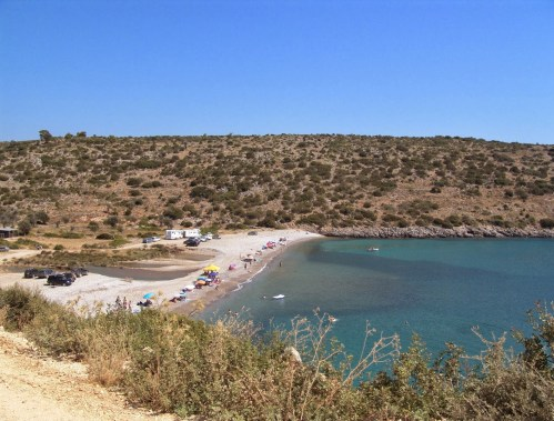 Salagona beach in Chios, Greece