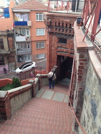 Stairway to street level at Great School of the Nation in Fener, Istanbul, Turkey