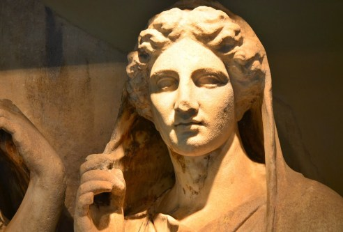 Tombstone at Kerameikos Museum in Athens, Greece