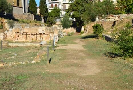 Road to Platonic Academy and Dimosio Sima at Kerameikos in Athens, Greece