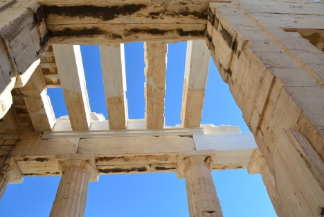 Passing under the Propylaia at the Acropolis, Athens, Greece