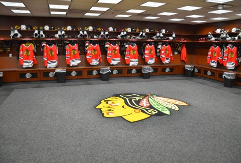 Locker room - Don't EVER step on the logo! at the United Center, Chicago, Illinois