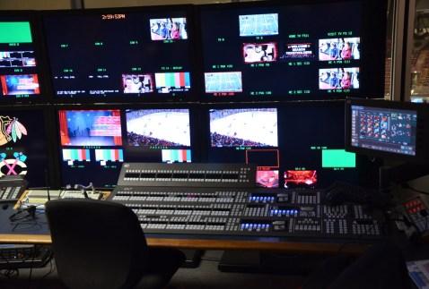 Scoreboard control at the United Center, Chicago, Illinois