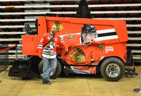 Me and the Zamboni at the United Center, Chicago, Illinois