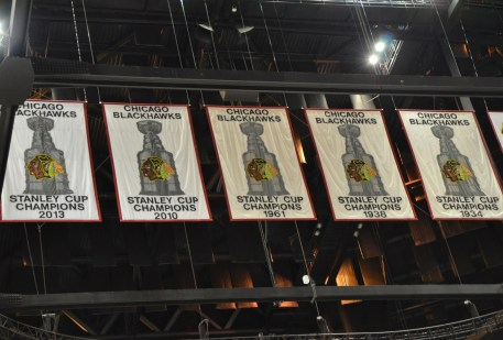 Stanley Cup banners at the United Center, Chicago, Illinois