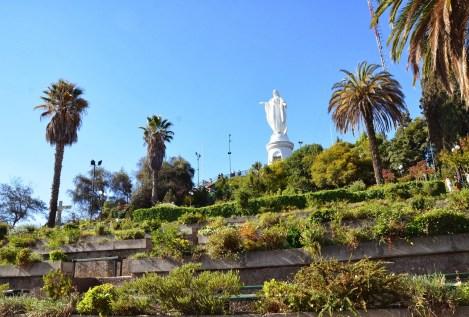 Statue of the Virgin on Cerro San Cristóbal in Bellavista, Santiago de Chile