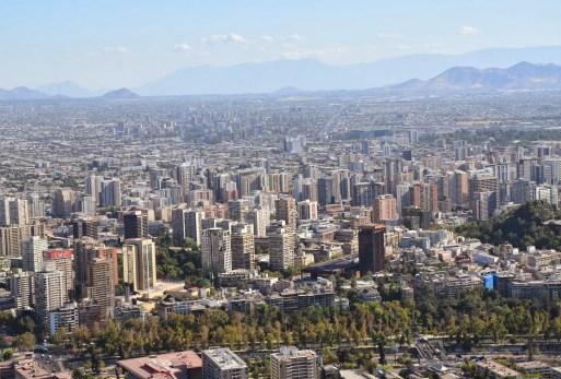 View of Santiago from Cerro San Cristóbal in Bellavista, Santiago de Chile
