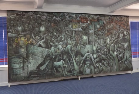 Mine disaster mural at Sewell Mining Town, Chile