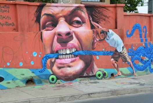 Graffiti on Av. Alemania in Valparaíso, Chile