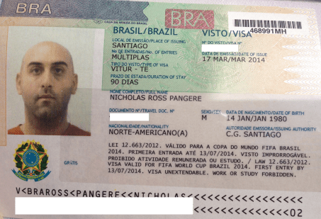 My Brazilian tourist visa from Santiago, Chile