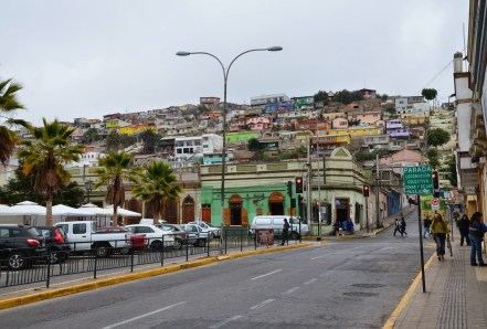 Plaza de Armas looking up the hill in Coquimbo, Chile