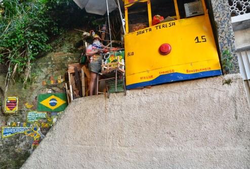 An artist in Santa Teresa in Rio de Janeiro, Brazil