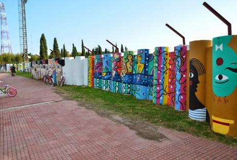 Stadium murals in Colonia del Sacramento, Uruguay
