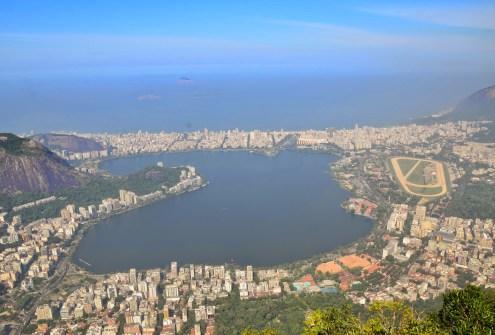 The view of Lagoa Rodrigo de Freitas from Cristo Redentor at Corcovado in the Tijuca Forest National Park, Rio de Janeiro, Brazil
