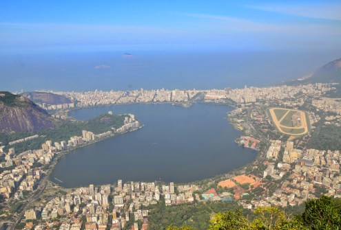 The view of Lagoa Rodrigo de Freitas from Cristo Redentor at Corcovado in the Tijuca Forest National Park, Rio de Janeiro, Brazil