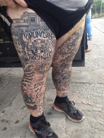 Some of Zezinho's tattoos at Rocinha favela, Rio de Janeiro, Brazil