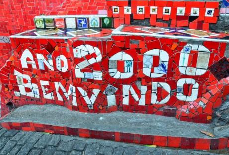 Welcome Year 2000 tiles at Escadaria Selarón in Rio de Janeiro, Brazil
