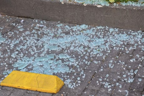 Glass on the street from the bank bomb in Ilhabela, Brazil